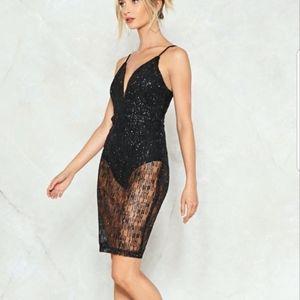 NWT- Nasty Gal black glitter deep-v dress